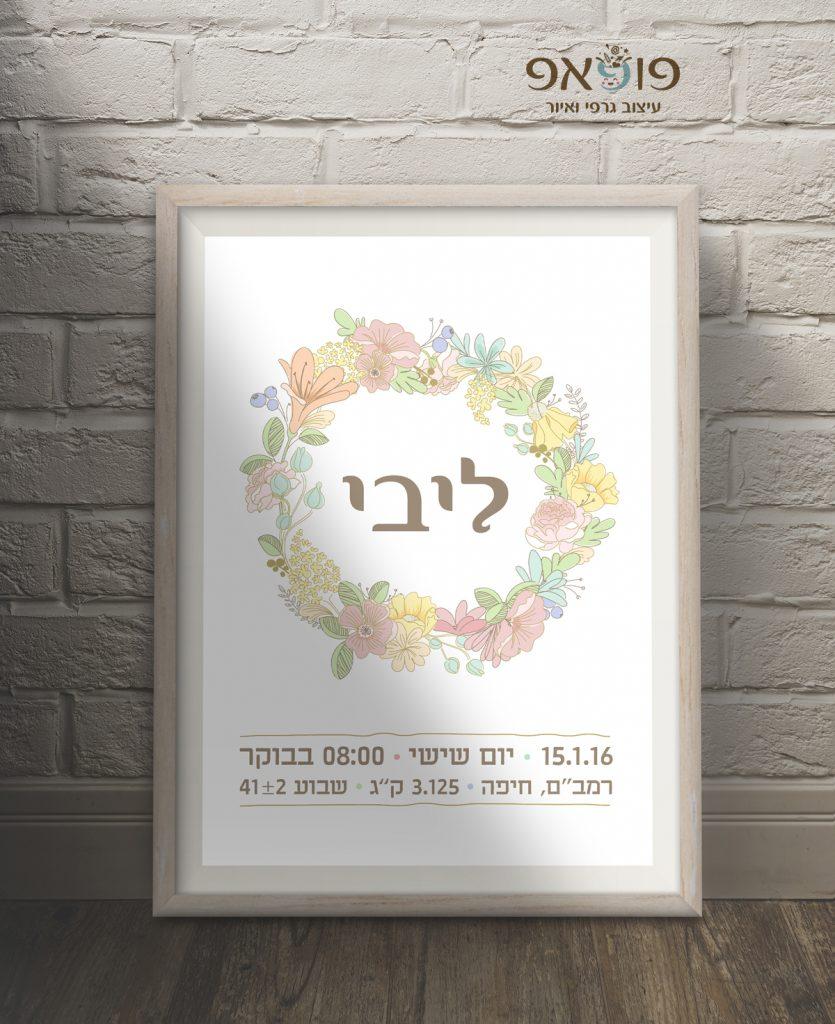 תעודת לידה מעוצבת מעגל פרחים